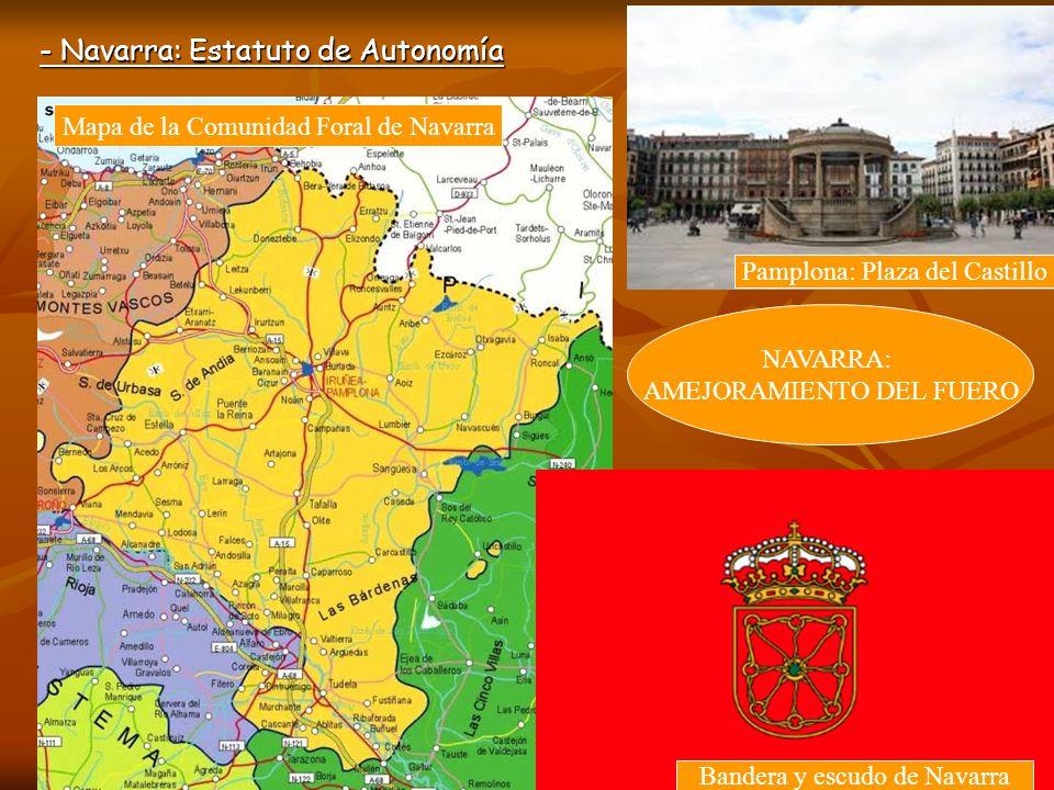 - Navarra: Estatuto de Autonomía Mapa de la Comunidad Foral de Navarra Pamplona: Plaza del Castillo Bandera y escudo de Navarra NAVARRA: AMEJORAMIENTO