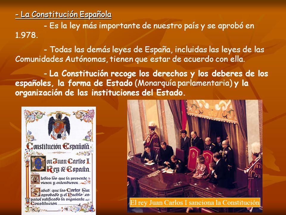 - La Constitución Española - Es la ley más importante de nuestro país y se aprobó en 1.978. - Todas las demás leyes de España, incluidas las leyes de