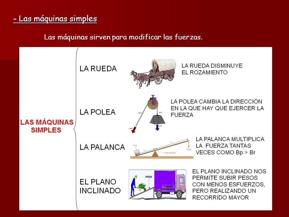 - Las máquinas simples Las máquinas sirven para modificar las fuerzas.