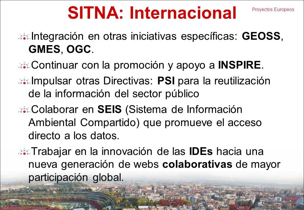SITNA: Internacional Integración en otras iniciativas específicas: GEOSS, GMES, OGC. Continuar con la promoción y apoyo a INSPIRE. Impulsar otras Dire