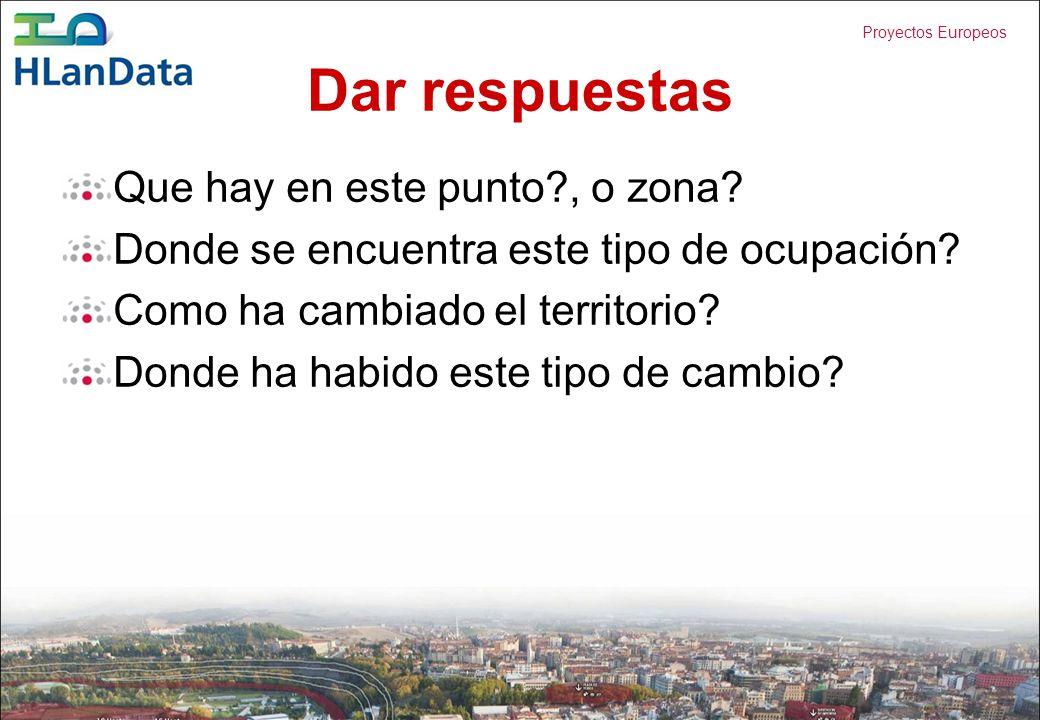 Proyectos Europeos Dar respuestas Que hay en este punto?, o zona? Donde se encuentra este tipo de ocupación? Como ha cambiado el territorio? Donde ha