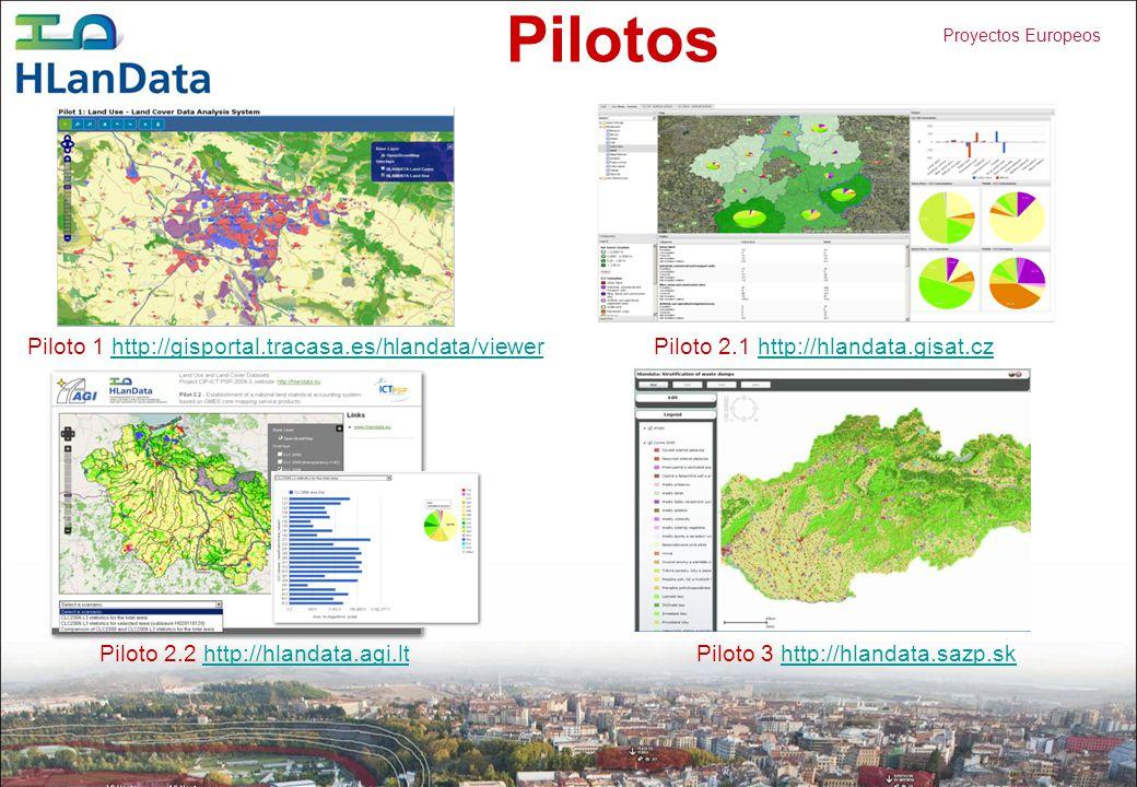 Proyectos Europeos Pilotos Piloto 1 http://gisportal.tracasa.es/hlandata/viewerhttp://gisportal.tracasa.es/hlandata/viewer Piloto 2.1 http://hlandata.