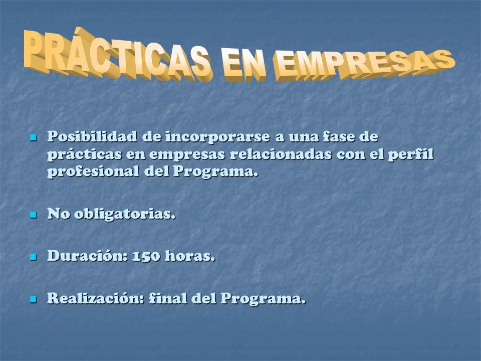 Posibilidad de incorporarse a una fase de prácticas en empresas relacionadas con el perfil profesional del Programa.