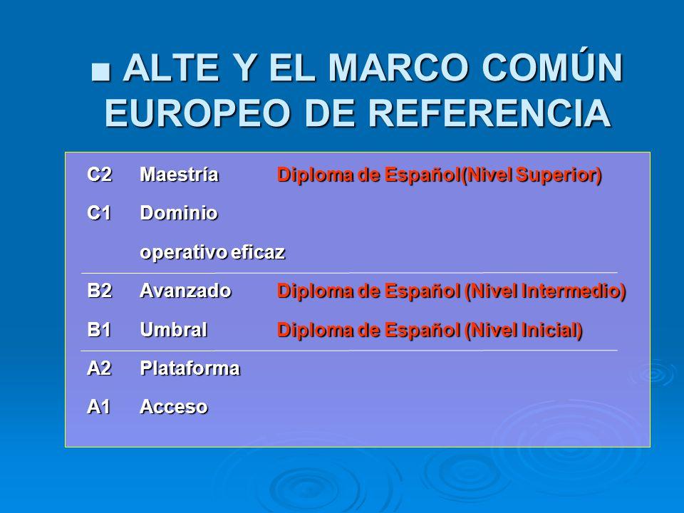 ALTE Y EL MARCO COMÚN EUROPEO DE REFERENCIA ALTE Y EL MARCO COMÚN EUROPEO DE REFERENCIA C2MaestríaDiploma de Español(Nivel Superior) C2MaestríaDiploma