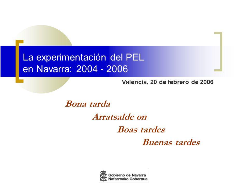 La experimentación del PEL en Navarra: 2004 - 2006 Valencia, 20 de febrero de 2006 Bona tarda Arratsalde on Boas tardes Buenas tardes