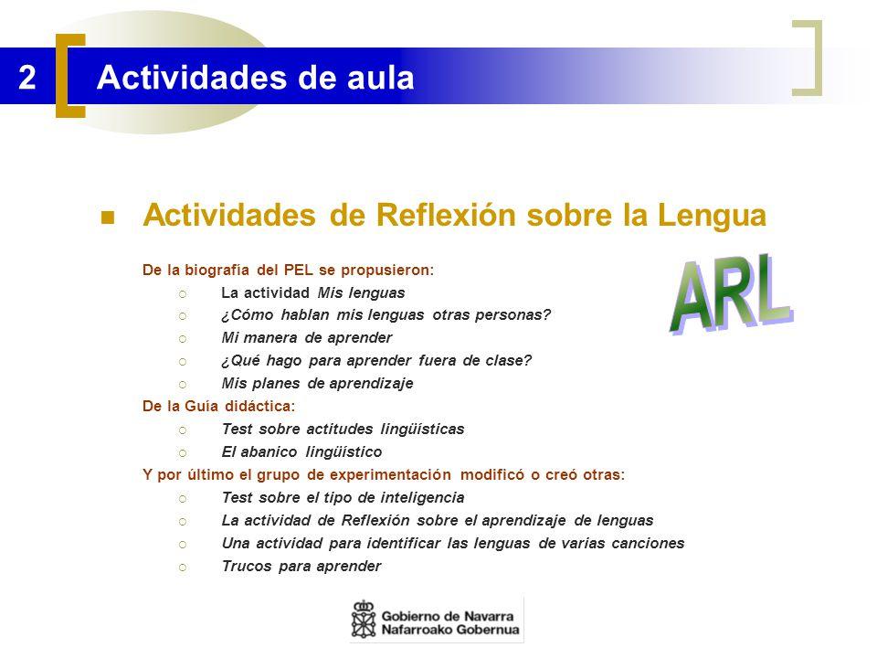 2 Actividades de aula Actividades de Reflexión sobre la Lengua De la biografía del PEL se propusieron: La actividad Mis lenguas ¿Cómo hablan mis lengu