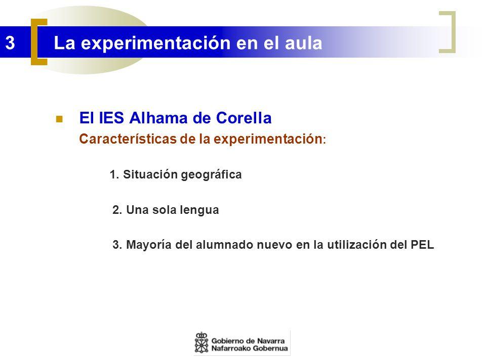 3 La experimentación en el aula El IES Alhama de Corella Características de la experimentación : 1. Situación geográfica 2. Una sola lengua 3. Mayoría