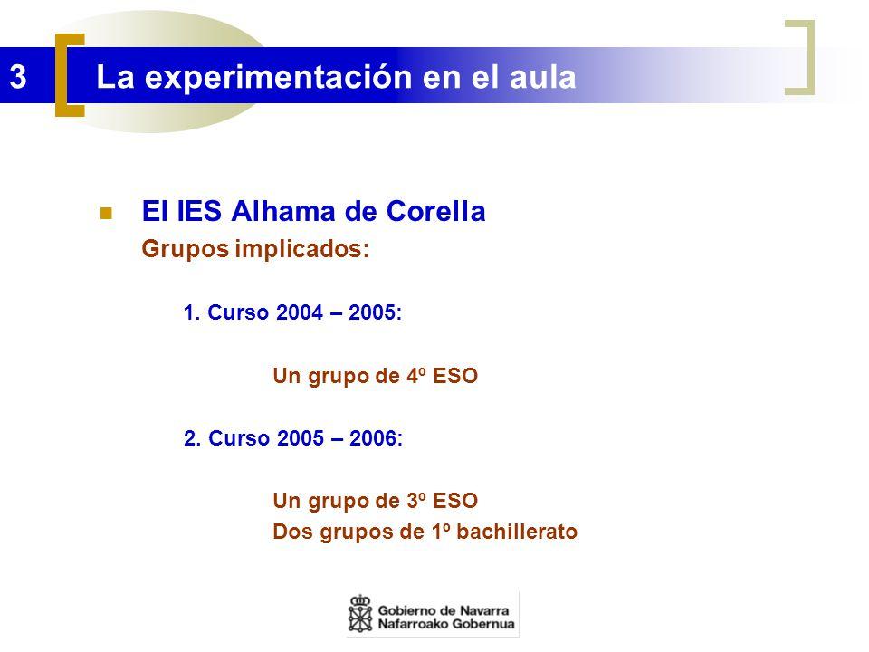 3 La experimentación en el aula El IES Alhama de Corella Grupos implicados: 1. Curso 2004 – 2005: Un grupo de 4º ESO 2. Curso 2005 – 2006: Un grupo de