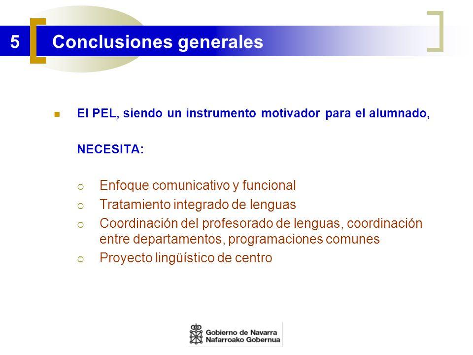 5 Conclusiones generales El PEL, siendo un instrumento motivador para el alumnado, NECESITA: Enfoque comunicativo y funcional Tratamiento integrado de