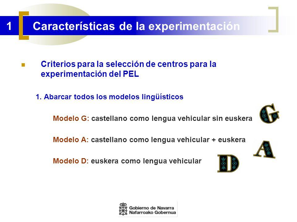 1 Características de la experimentación Criterios para la selección de centros para la experimentación del PEL 1. Abarcar todos los modelos lingüístic
