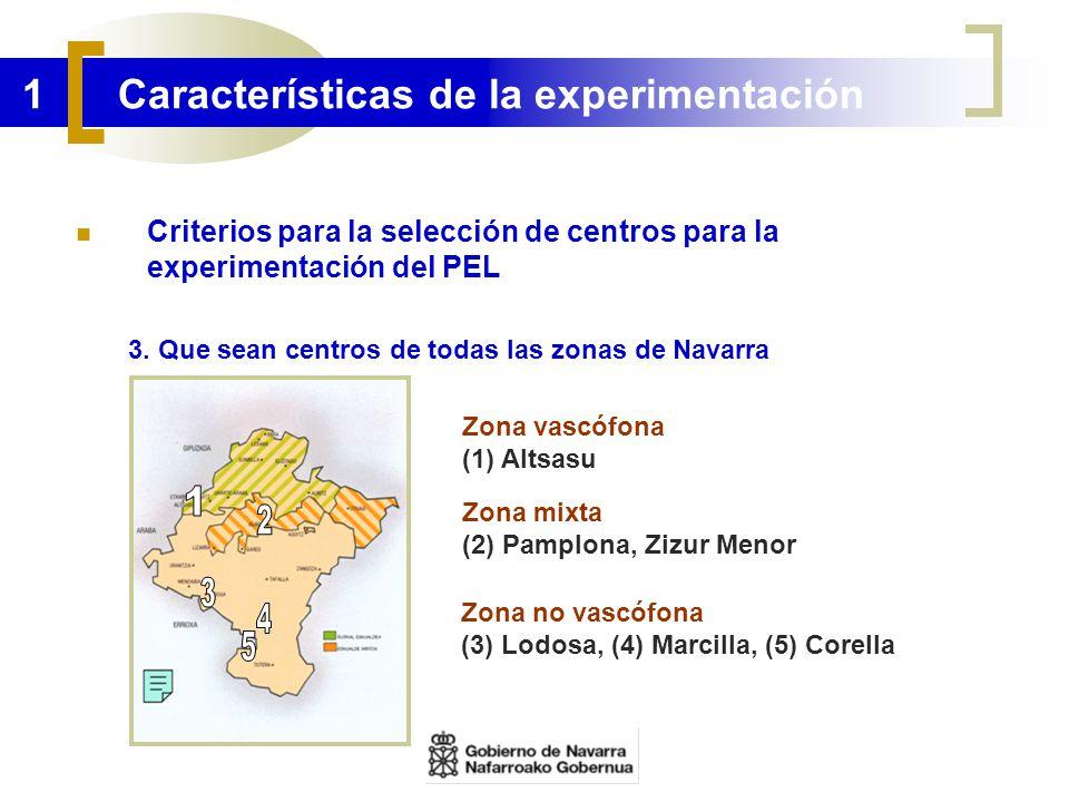 1 Características de la experimentación Criterios para la selección de centros para la experimentación del PEL 3. Que sean centros de todas las zonas