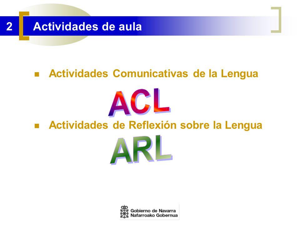 2 Actividades de aula Actividades Comunicativas de la Lengua Actividades de Reflexión sobre la Lengua