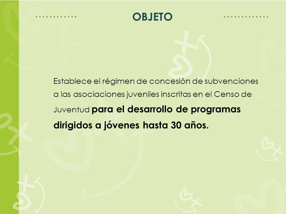 Espacio para título Espacio para texto OBJETO Establece el régimen de concesión de subvenciones a las asociaciones juveniles inscritas en el Censo de Juventud para el desarrollo de programas dirigidos a jóvenes hasta 30 años.