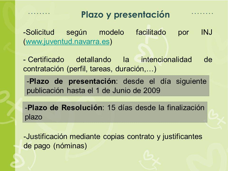 Espacio para título Espacio para texto Plazo y presentación -Solicitud según modelo facilitado por INJ (www.juventud.navarra.es)www.juventud.navarra.es - Certificado detallando la intencionalidad de contratación (perfil, tareas, duración,…) -Plazo de presentación: desde el día siguiente publicación hasta el 1 de Junio de 2009 -Plazo de Resolución: 15 días desde la finalización plazo -Justificación mediante copias contrato y justificantes de pago (nóminas)