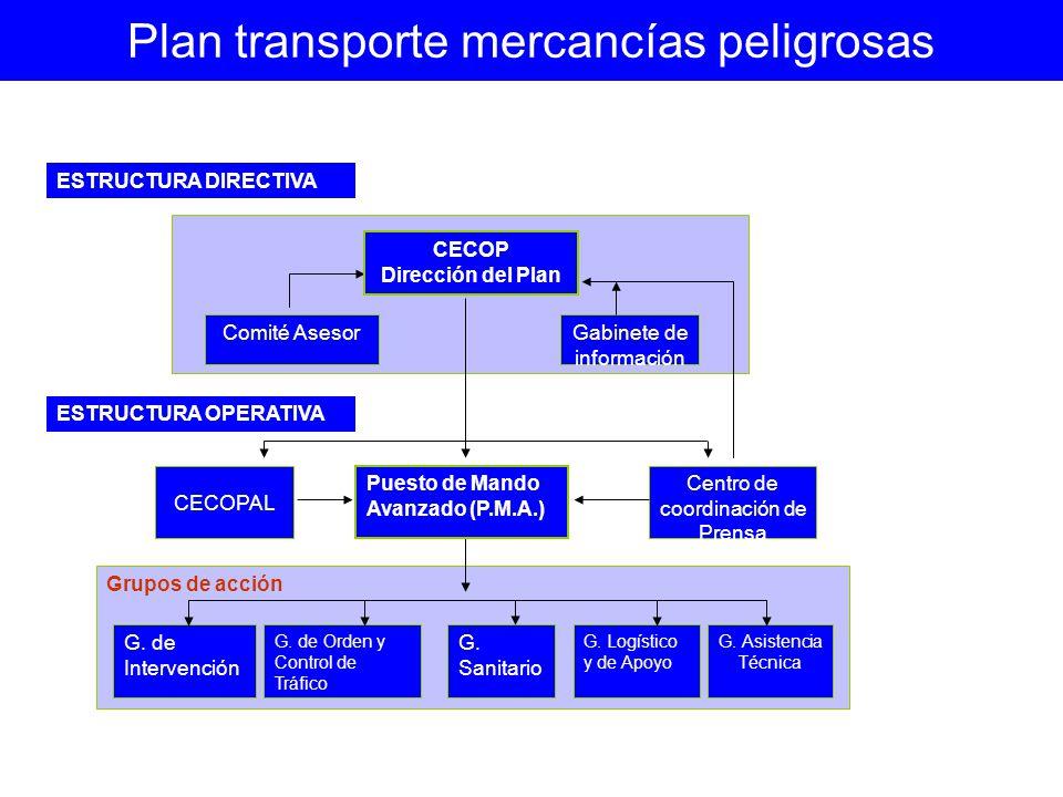 Gabinete de información Comité Asesor CECOP Dirección del Plan Grupos de acción G. de Intervención G. de Orden y Control de Tráfico G. Sanitario G. Lo