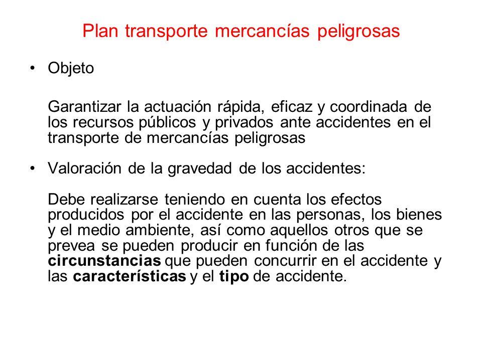 Plan transporte mercancías peligrosas Objeto Garantizar la actuación rápida, eficaz y coordinada de los recursos públicos y privados ante accidentes e