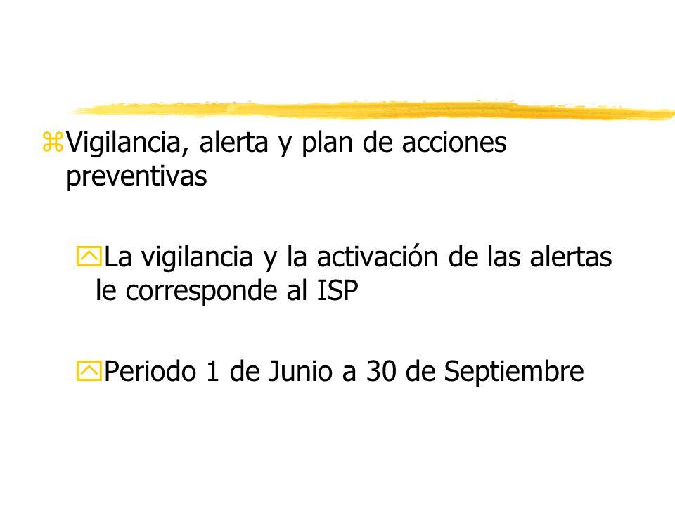 zVigilancia, alerta y plan de acciones preventivas yLa vigilancia y la activación de las alertas le corresponde al ISP yPeriodo 1 de Junio a 30 de Septiembre