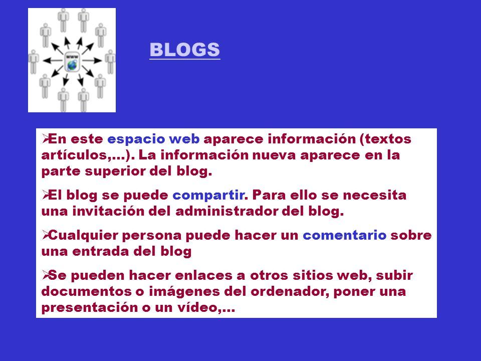 BLOGS En este espacio web aparece información (textos artículos,...).