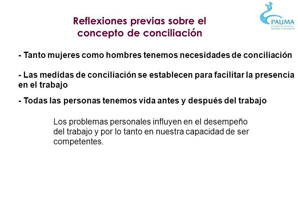 Gestión individualizada - Poner en el centro de la política de conciliación a las personas - Buscar el equilibrio Necesidades Pauma, servicio, equipo Necesidades familiares y personales - Capacidad de escucha y empatía, y creatividad