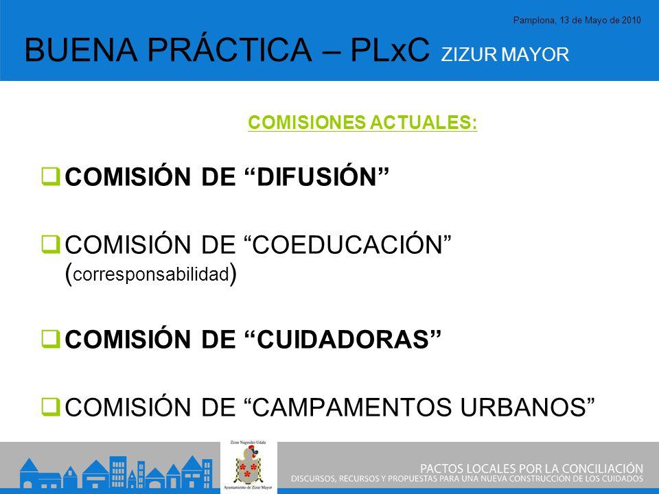 Pamplona, 13 de Mayo de 2010 BUENA PRÁCTICA – PLxC ZIZUR MAYOR COMISIONES ACTUALES: COMISIÓN DE DIFUSIÓN COMISIÓN DE COEDUCACIÓN ( corresponsabilidad ) COMISIÓN DE CUIDADORAS COMISIÓN DE CAMPAMENTOS URBANOS