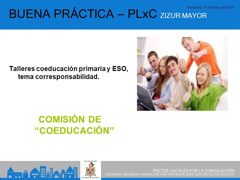 Pamplona, 13 de Mayo de 2010 BUENA PRÁCTICA – PLxC ZIZUR MAYOR Talleres coeducación primaria y ESO, tema corresponsabilidad.