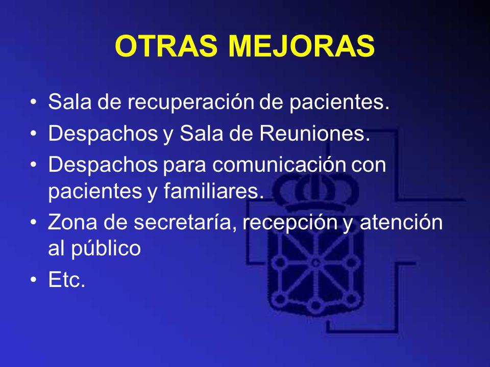 OTRAS MEJORAS Sala de recuperación de pacientes. Despachos y Sala de Reuniones. Despachos para comunicación con pacientes y familiares. Zona de secret