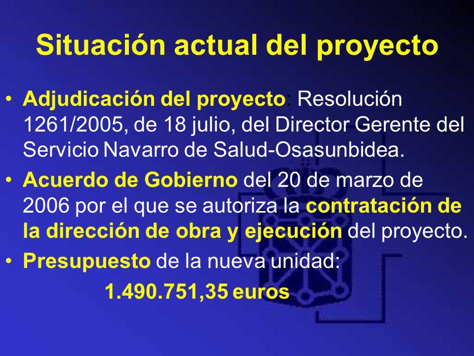 Situación actual del proyecto Adjudicación del proyecto: Resolución 1261/2005, de 18 julio, del Director Gerente del Servicio Navarro de Salud-Osasunb