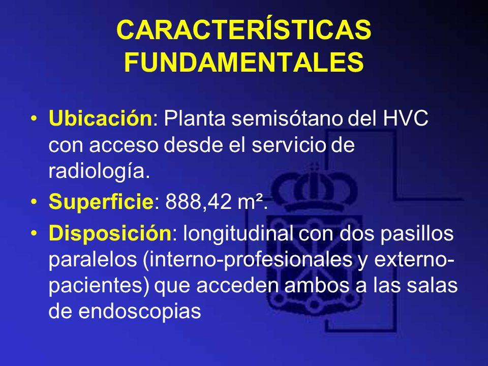 CARACTERÍSTICAS FUNDAMENTALES Ubicación: Planta semisótano del HVC con acceso desde el servicio de radiología. Superficie: 888,42 m². Disposición: lon