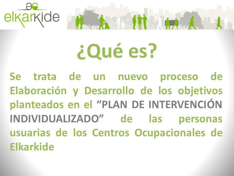 ¿Qué es? Se trata de un nuevo proceso de Elaboración y Desarrollo de los objetivos planteados en el PLAN DE INTERVENCIÓN INDIVIDUALIZADO de las person