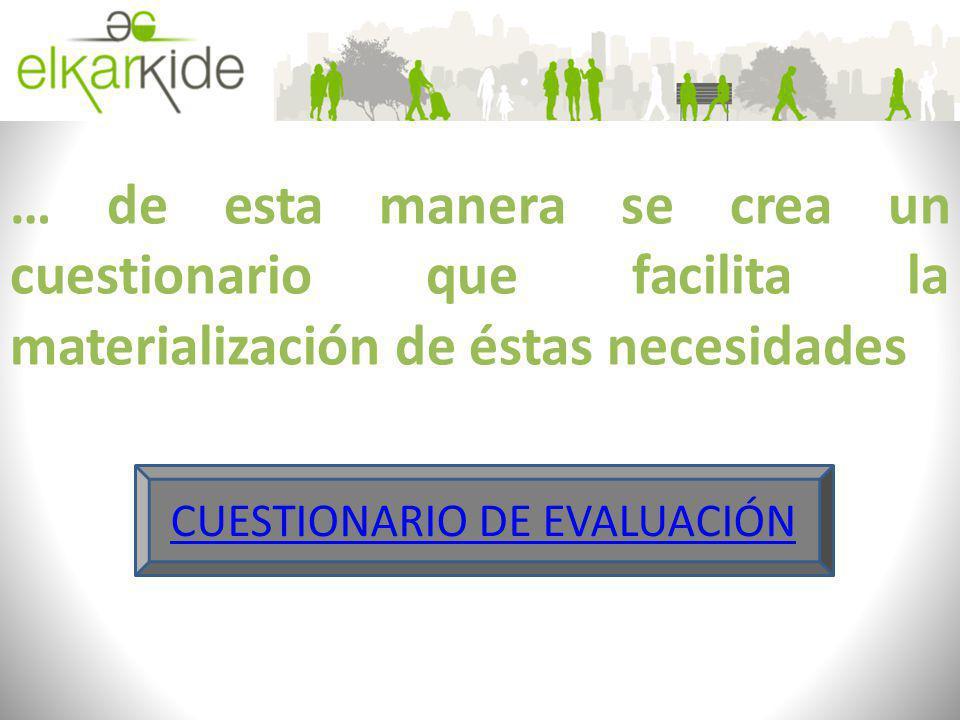 … de esta manera se crea un cuestionario que facilita la materialización de éstas necesidades CUESTIONARIO DE EVALUACIÓN