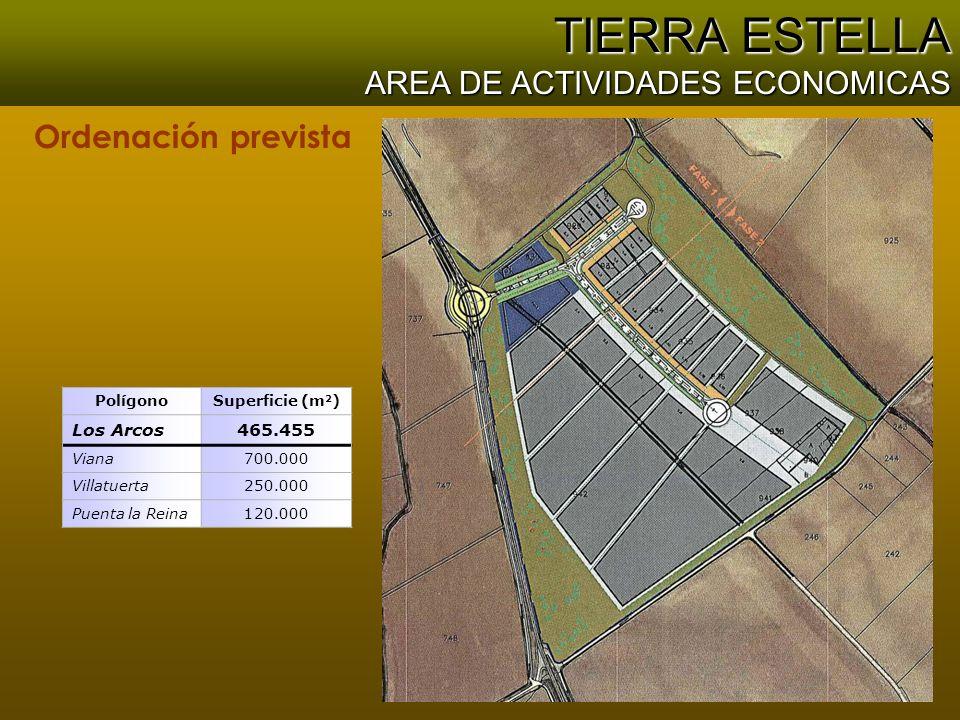TIERRA ESTELLA AREA DE ACTIVIDADES ECONOMICAS Ordenación prevista PolígonoSuperficie (m 2 ) Los Arcos465.455 Viana700.000 Villatuerta250.000 Puenta la