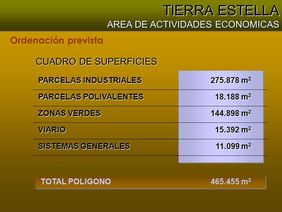 465.455 m 2 TOTAL POLIGONO PARCELAS POLIVALENTES PARCELAS INDUSTRIALES CUADRO DE SUPERFICIES 144.898 m 2 ZONAS VERDES VIARIO SISTEMAS GENERALES 275.878 m 2 18.188 m 2 15.392 m 2 11.099 m 2 TIERRA ESTELLA AREA DE ACTIVIDADES ECONOMICAS Ordenación prevista