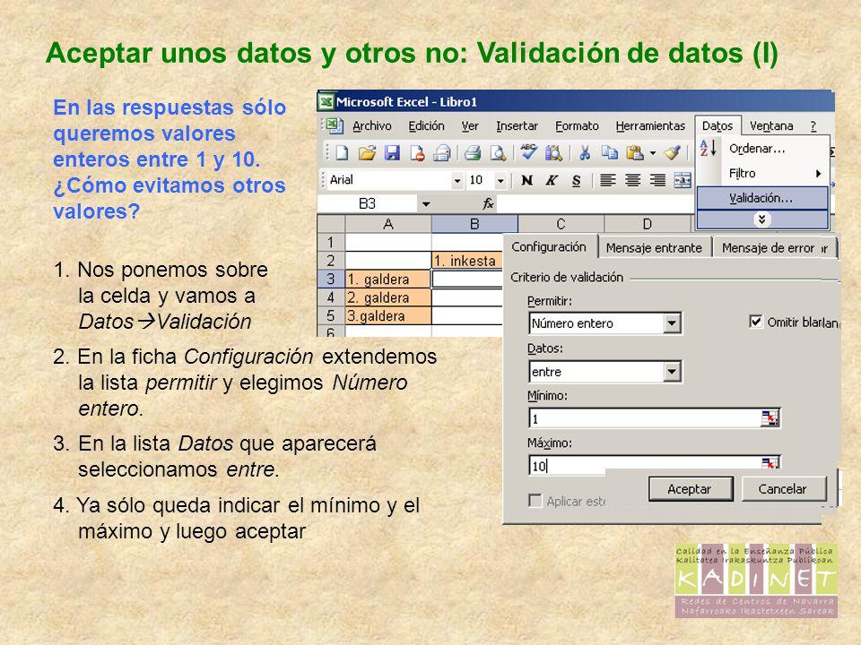 Aceptar unos datos y otros no: Validación de datos (II) Hay más posibilidades con la validación.