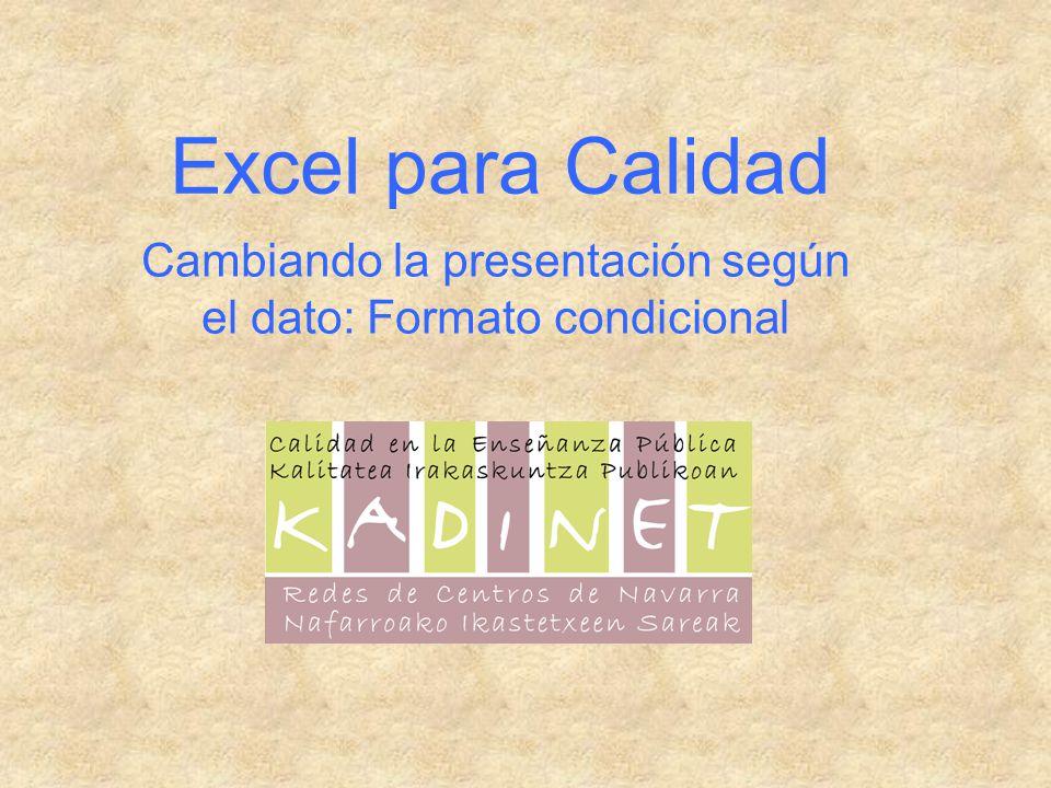 Excel para Calidad Cambiando la presentación según el dato: Formato condicional