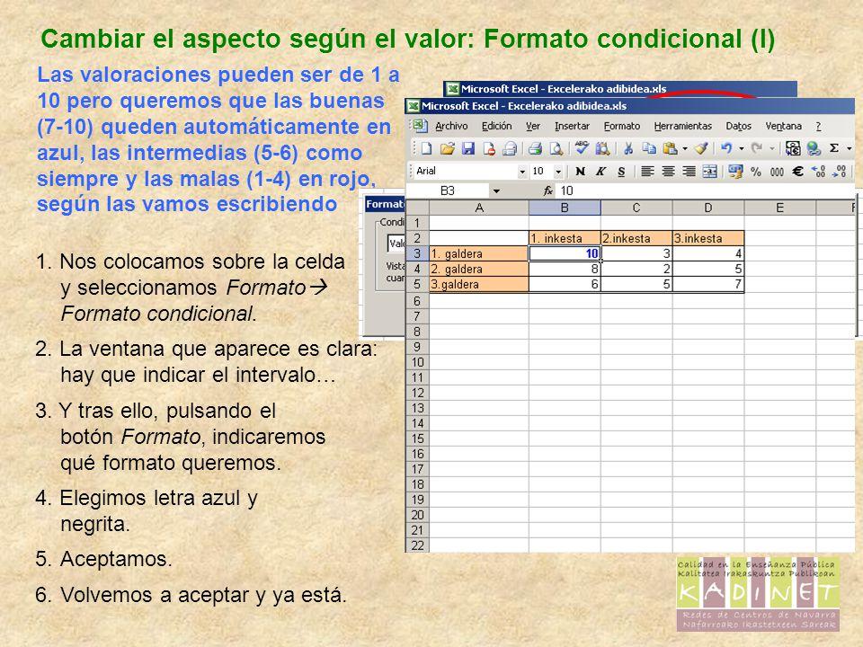 Cambiar el aspecto según el valor: Formato condicional (I) Las valoraciones pueden ser de 1 a 10 pero queremos que las buenas (7-10) queden automáticamente en azul, las intermedias (5-6) como siempre y las malas (1-4) en rojo, según las vamos escribiendo 1.