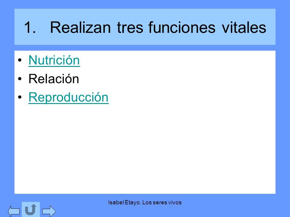 Isabel Etayo. Los seres vivos 1.Realizan tres funciones vitales Nutrición Relación Reproducción
