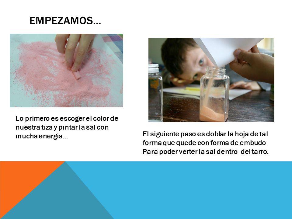EMPEZAMOS… Lo primero es escoger el color de nuestra tiza y pintar la sal con mucha energia… El siguiente paso es doblar la hoja de tal forma que quede con forma de embudo Para poder verter la sal dentro del tarro.