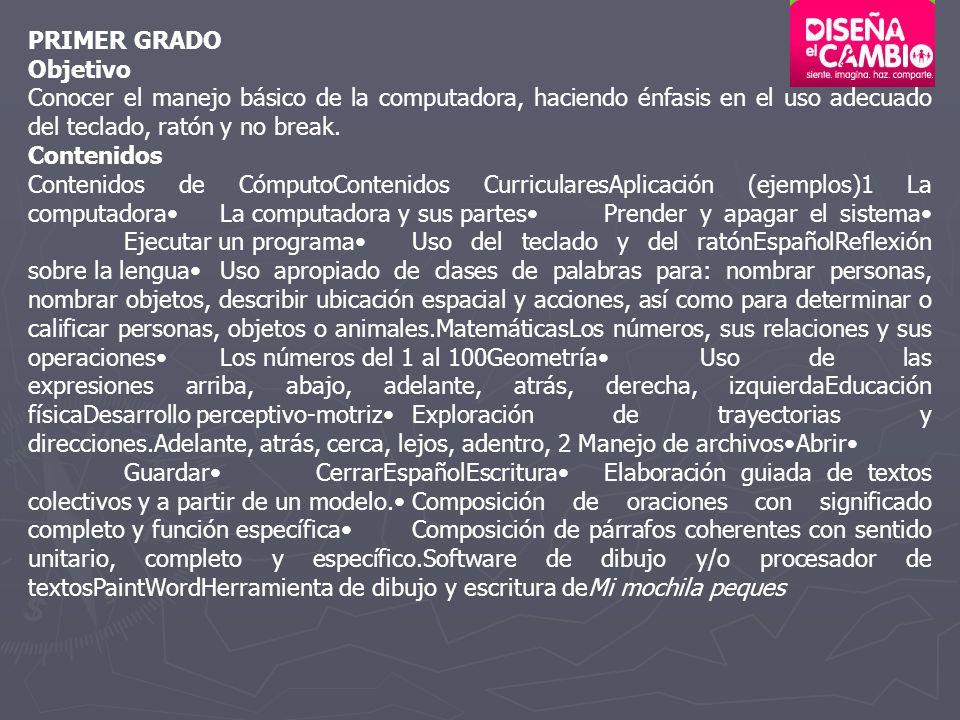 PRIMER GRADO Objetivo Conocer el manejo básico de la computadora, haciendo énfasis en el uso adecuado del teclado, ratón y no break. Contenidos Conten