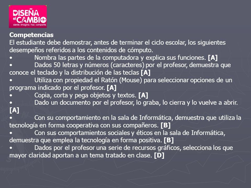 Competencias El estudiante debe demostrar, antes de terminar el ciclo escolar, los siguientes desempeños referidos a los contenidos de cómputo. Nombra