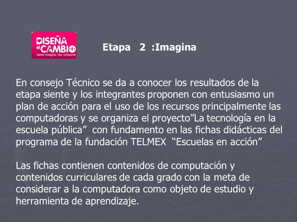 Etapa 2 :Imagina En consejo Técnico se da a conocer los resultados de la etapa siente y los integrantes proponen con entusiasmo un plan de acción para