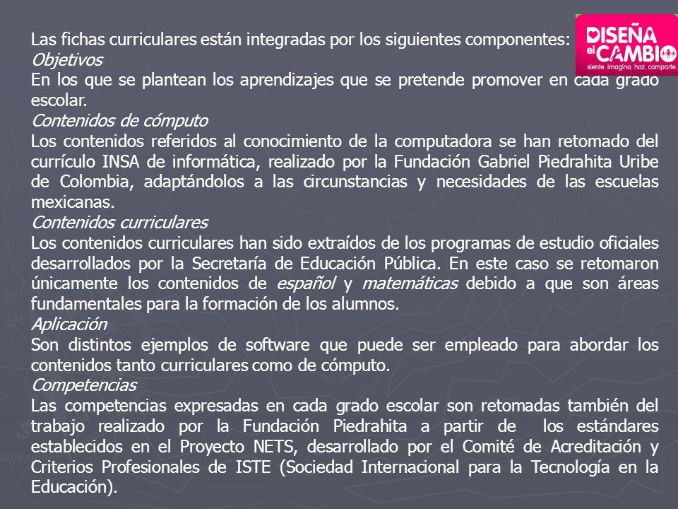 Las fichas curriculares están integradas por los siguientes componentes: Objetivos En los que se plantean los aprendizajes que se pretende promover en cada grado escolar.