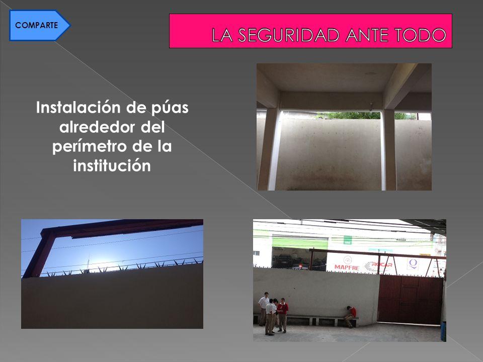 Instalación de púas alrededor del perímetro de la institución COMPARTE
