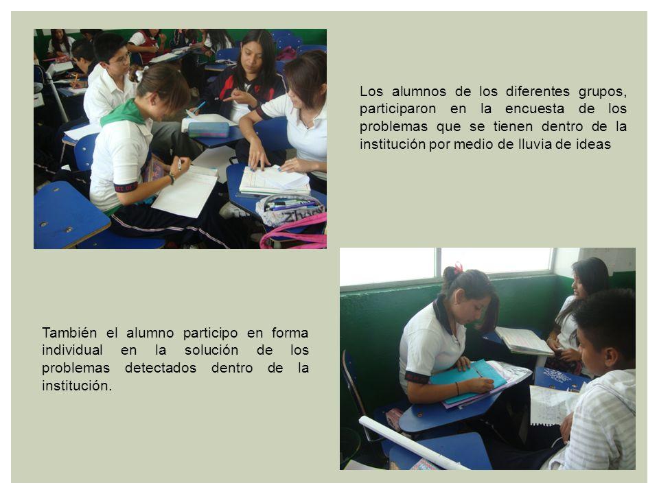 Los alumnos de los diferentes grupos, participaron en la encuesta de los problemas que se tienen dentro de la institución por medio de lluvia de ideas