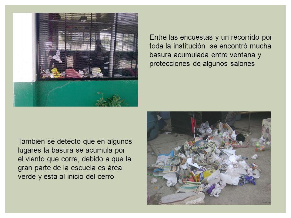 Entre las encuestas y un recorrido por toda la institución se encontró mucha basura acumulada entre ventana y protecciones de algunos salones También