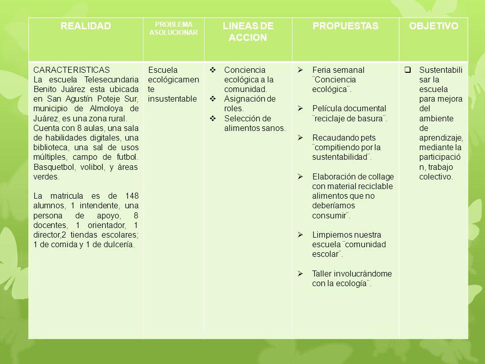 REALIDAD PROBLEMA ASOLUCIONAR LINEAS DE ACCION PROPUESTASOBJETIVO CARACTERISTICAS La escuela Telesecundaria Benito Juárez esta ubicada en San Agustín
