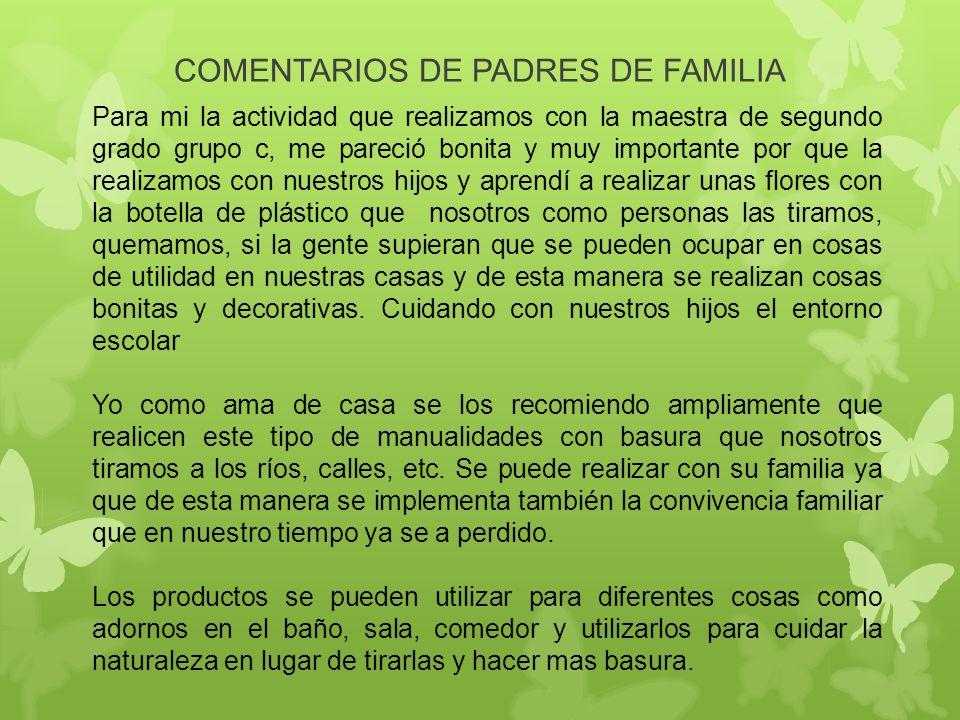 COMENTARIOS DE PADRES DE FAMILIA Para mi la actividad que realizamos con la maestra de segundo grado grupo c, me pareció bonita y muy importante por q
