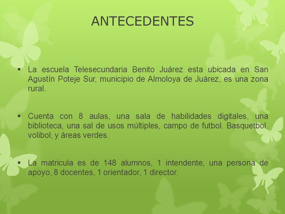 ANTECEDENTES La escuela Telesecundaria Benito Juárez esta ubicada en San Agustín Poteje Sur, municipio de Almoloya de Juárez, es una zona rural. Cuent