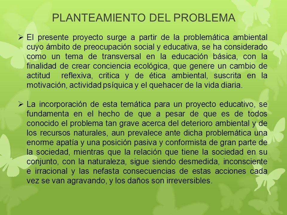 PLANTEAMIENTO DEL PROBLEMA El presente proyecto surge a partir de la problemática ambiental cuyo ámbito de preocupación social y educativa, se ha cons