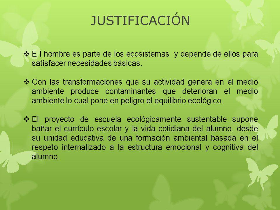 JUSTIFICACIÓN E l hombre es parte de los ecosistemas y depende de ellos para satisfacer necesidades básicas. Con las transformaciones que su actividad