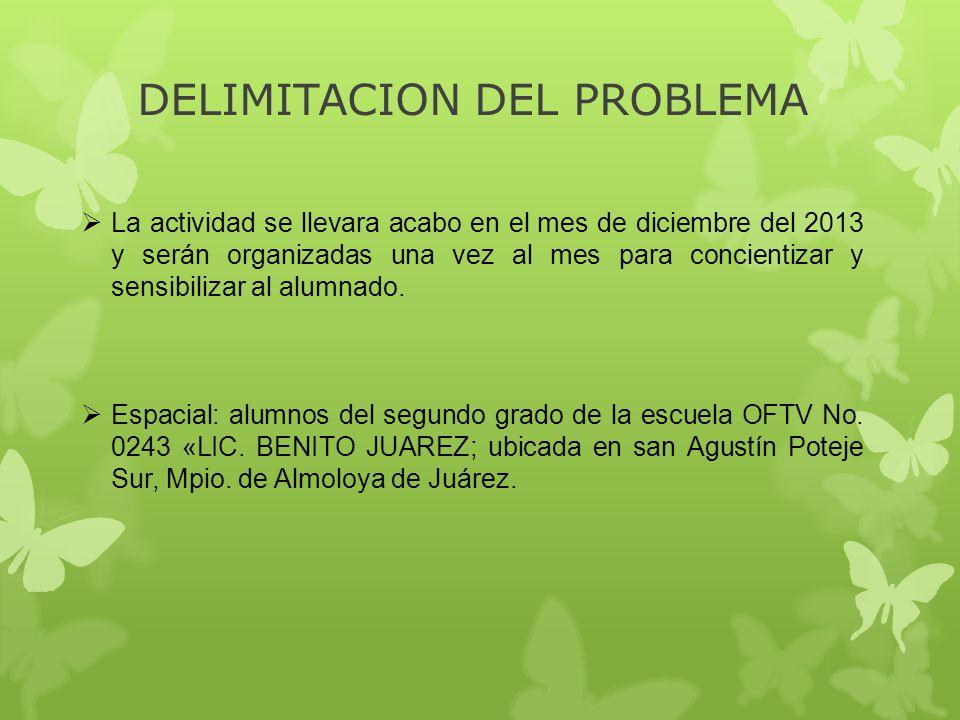 DELIMITACION DEL PROBLEMA La actividad se llevara acabo en el mes de diciembre del 2013 y serán organizadas una vez al mes para concientizar y sensibi
